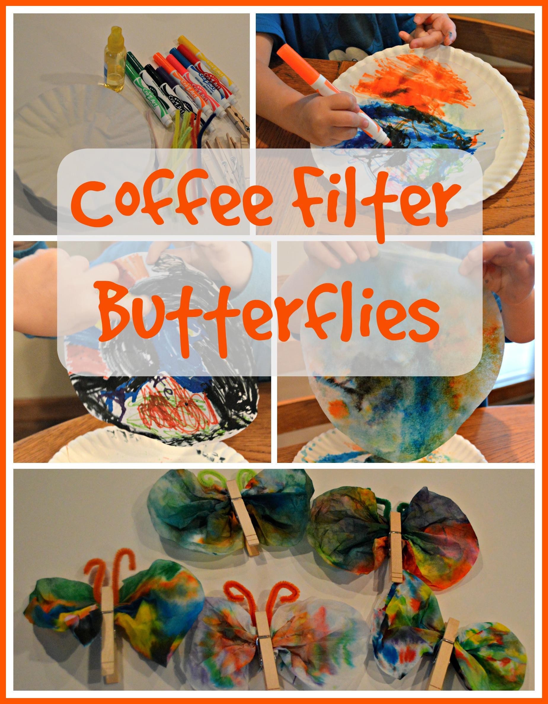 Coffee filter butterfly craft for kids the resourceful mama for Butterfly art and craft