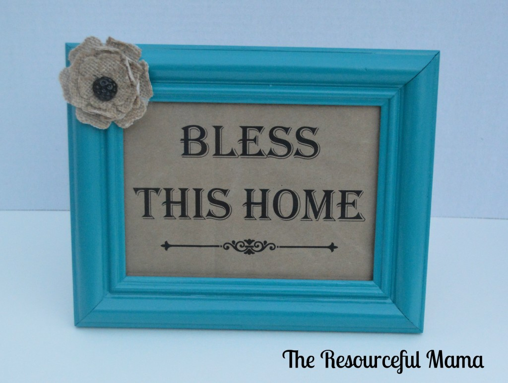 paper bag challenge~ Bless This Home printed on paper bag and put in spray painted thrift store frame~ The Resourceful Mama