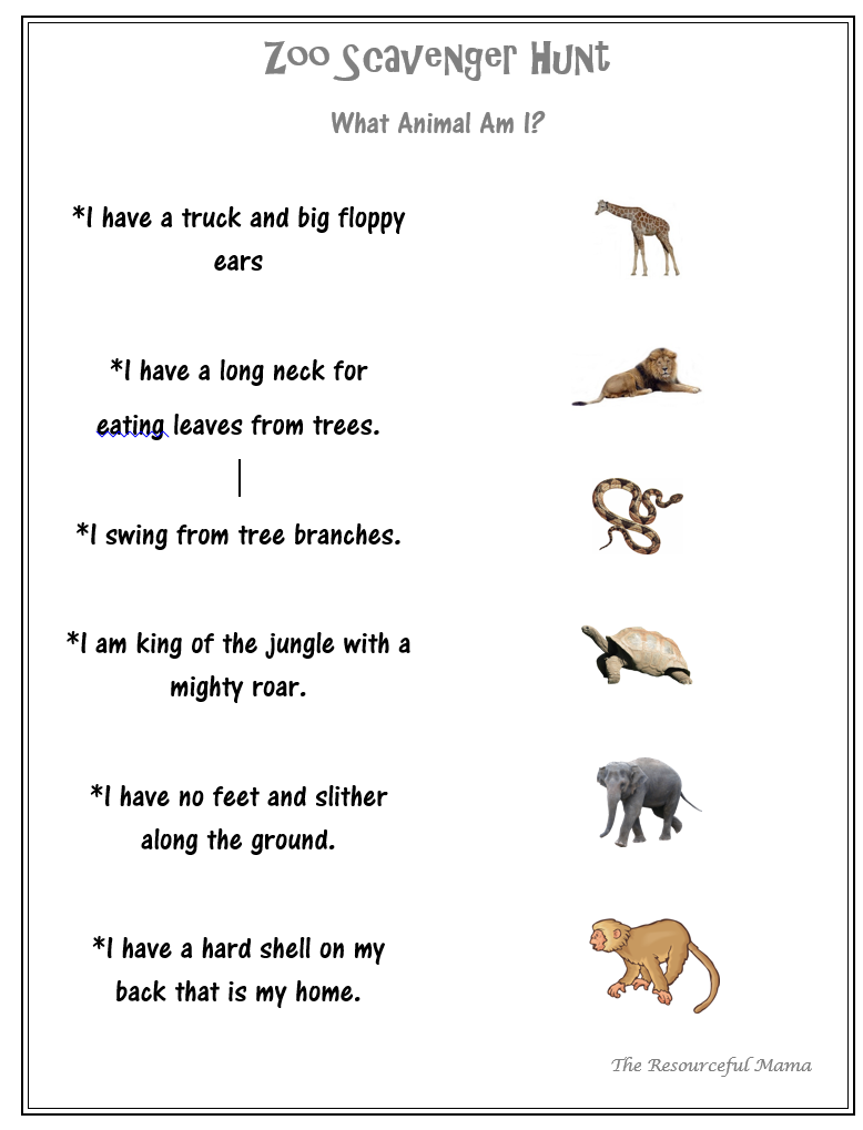 It's just a picture of Agile Zoo Scavenger Hunt Printable