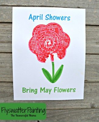 Flyswatter Painting~April Showers Bring May Flowers {Free Printable}
