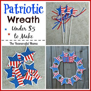 Patriotic wreath for Memorial Day, 4th of July, or any day from items purchased at Dollar Tree.  Costs under $5 to make.