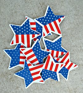 foam stars from Dollar Tree used to make  patriotic wreath for 4th of July