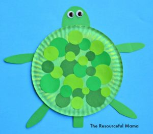 This an easy paper plate turtle craft that your kids will love making. You need green paint, paper plate, various colors and size circles, googly eyes, and free printable for arms, head tail.