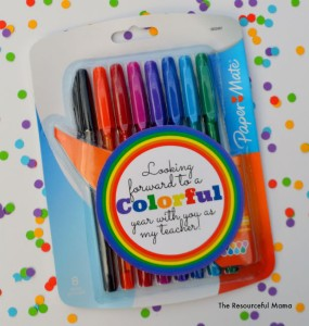 Your child's teacher will love this colorful teacher gift as a back to school gift. Stop by The Resourceful Mama and print your free gift tag; attach it to colorful pens, markers, crayons, watercolors, highlighters, or colored pencils.