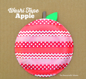 I love how this washi tape apple turned out. It is a great fall or back to school kids craft.