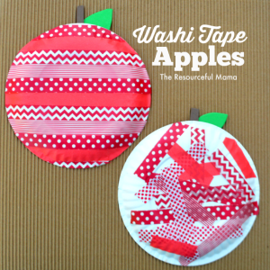 I love how these apples made with washi tape and paper plates turned out. Great fall or back to school apple kids craft.