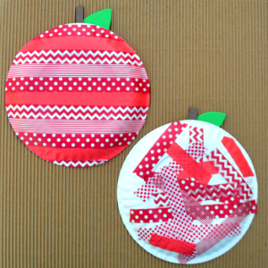 Washi Tape Apple: great kids apple craft for fall or back to school.