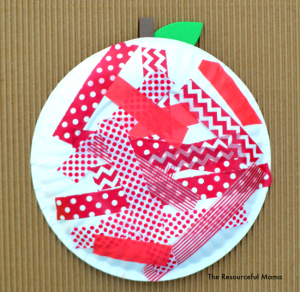 I love this washi tape apple my preschooler made. It is great for fall or back to school and provides great scissor practice.