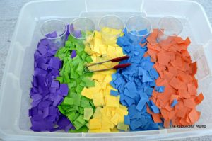 Tissue Paper Sensory Bin~add tongs and cups to sort and match colors.