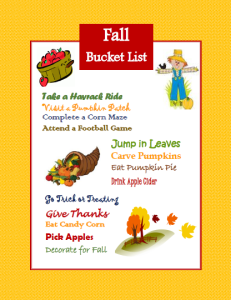 FALL BUCKET LIST-free printable