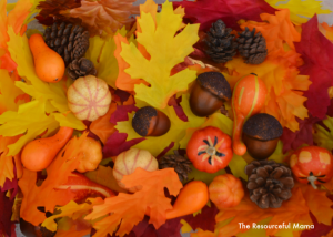 Fall sensory bin that incorporates several preschool skills.