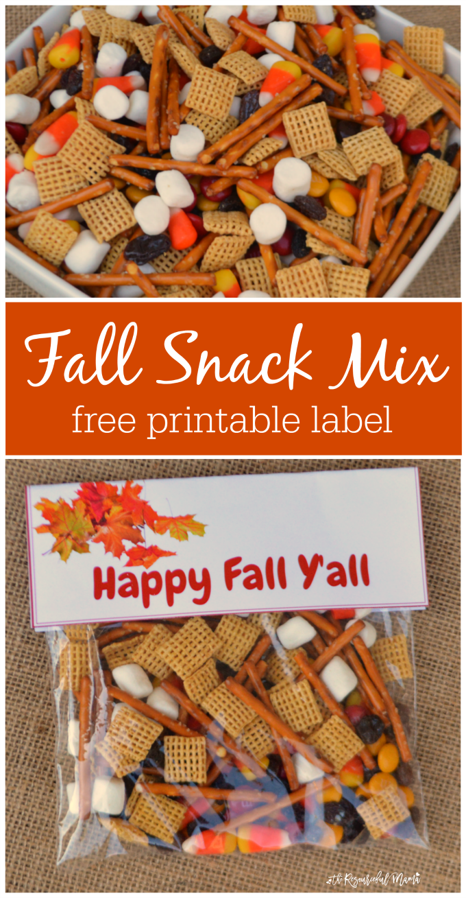 Quick and easy fall snack treat bag prefect for school snacks, fall gatherings an parties. Grab a free printable label.