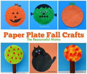 paper plate fall kid collage