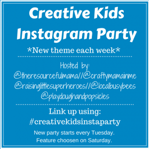 Instagram party link up using hashtag #creativekidsinstaparty. New theme each week. Link up kid crafts and activities. Party starts Tuesday each week. Feature posted on Saturday.