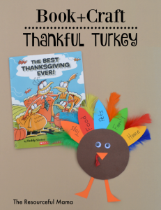 Thanksgiving book and craft with a thankful turkey kid craft. Great way to get the kids talking about what they are thankful for this year.