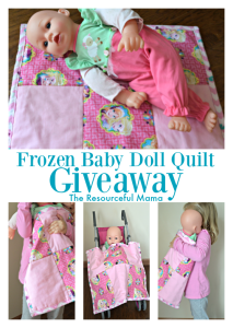 Frozen baby doll quilt made by Home Crafts by Ali giveaway