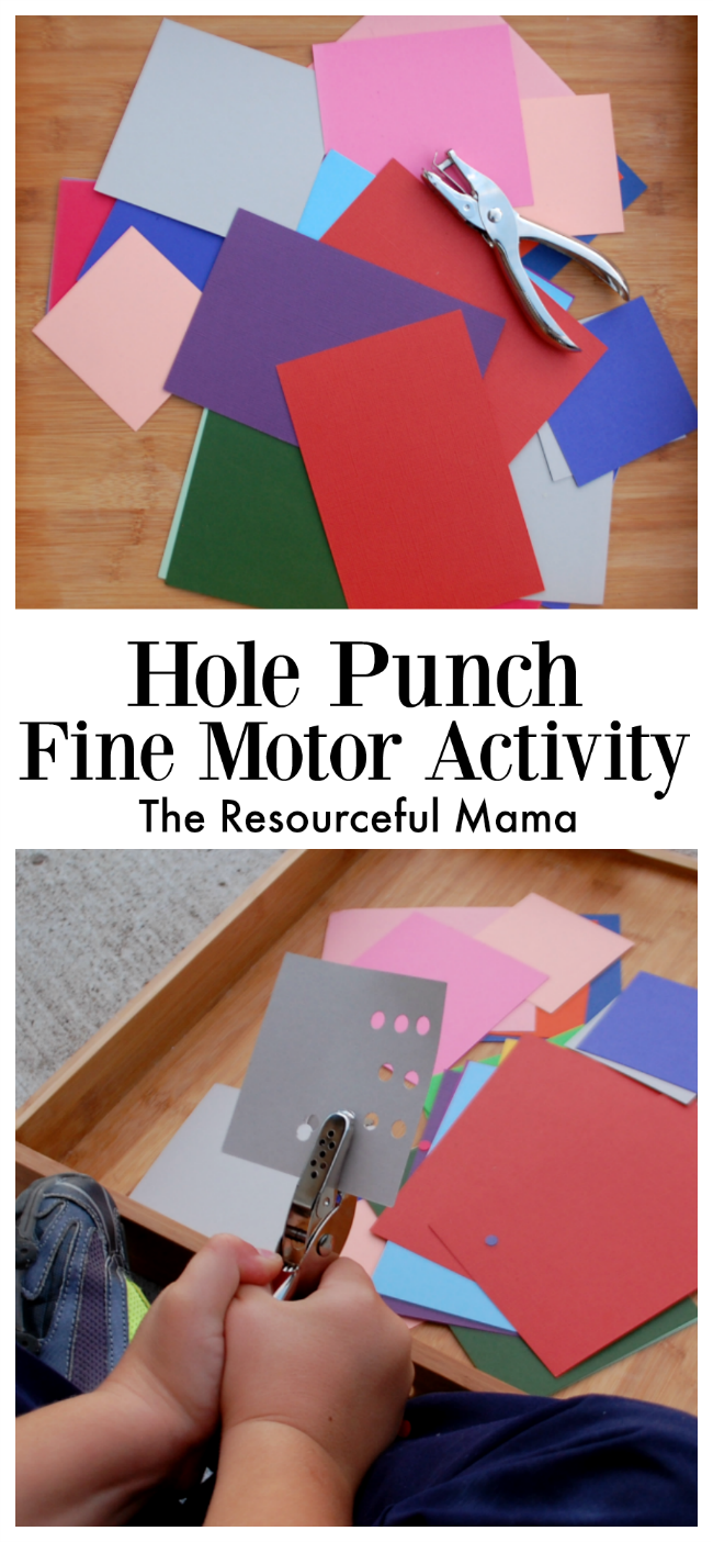 This hole punch fine motor activity is inexpensive, easy to prep and can be done independently. preschoolers|kindergarteners|fine motor|kid activity