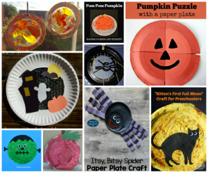 How creative are this fall inspired paper plate kid crafts featured at #kidcraftchallenge! There are some great fall and Halloween projects!