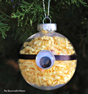 Homemade Minions Christmas Ornament The kids will love to help make this one!
