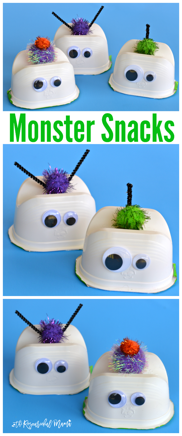 These wacky monster snacks are so fun, versatile, and creative! They work great for Halloween, a monster them, or just for fun.