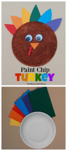 Make this colorful turkey kid craft using paint chips for Thanksgiving.