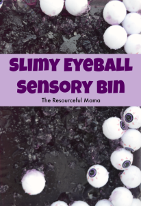 Slimy eyeball sensory bin perfect for Halloween