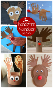 Rudolph the Red Nosed Reindeer Christmas Handprint Crafts for Kids