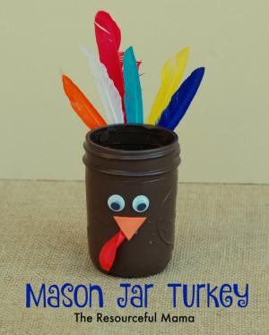 Mason Jar Turkeys for the Thanksgiving Kid Table