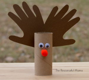 Rudolph the Red Nosed Reindeer Toilet Paper Roll Kids Christmas Craft