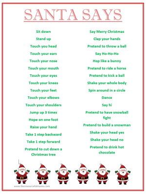 "FREE PRINTABLE ""Santa Says"" game. Simon says with a Christmas spin, perfect for school holiday classroom parties."
