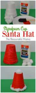 Santa Hat Kid Craft: easy and inexpensive Christmas craft for kids.