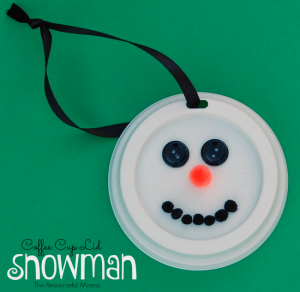 Coffee Cup Lid Snowman kid homemade ornament perfect for the Christmas tree.