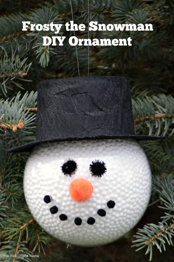 DIY Frosty the Snowman Christmas ornament. Great adult or kid made ornament.