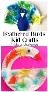 Paper plate feathered bird kid crafts
