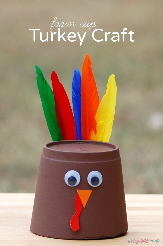 Kids can transform a foam cup into a turkey craft for Thanksgiving.