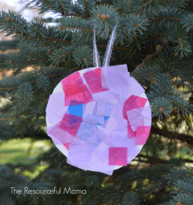 Kid made tissue paper-paper plate Christmas ornament