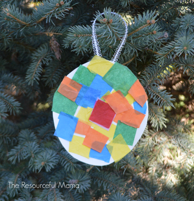 Tissue Paper Kid Made Christmas Ornament