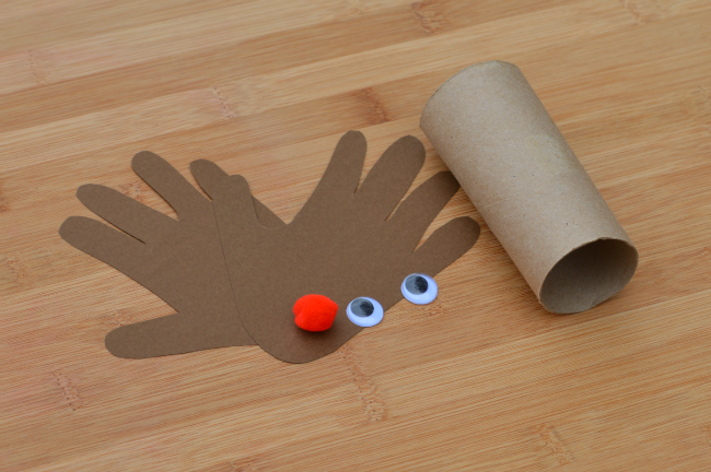 Toilet paper roll handprint rudolph the red nosed reindeer kid craft