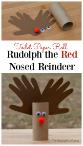 Rudolph the Red Nosed Reindeer Kid Craft using toilet paper roll. Great handprint kid craft for Christmas.