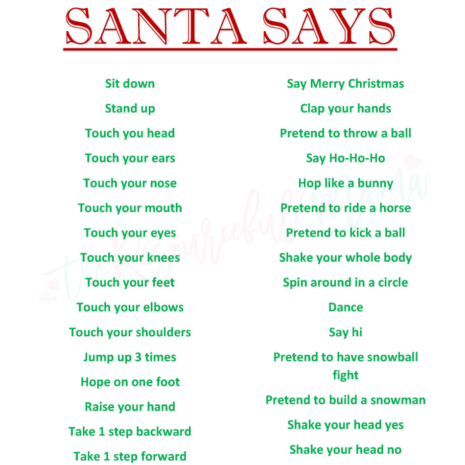 Christmas Party Games Ideas For Adults: Santa Says Game For Christmas Parties {FREE PRINTABLE