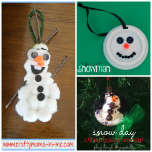 kid made snowman Christmas ornaments