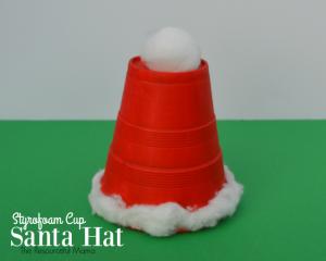 Styrofoam Cup Santa Hat Kid Craft