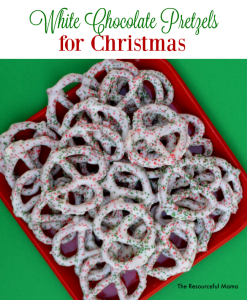 These yummy white chocolate pretzels for Christmas are a super easy and no bake treat for Christmas that kids can help make. They make great homemade gifts.