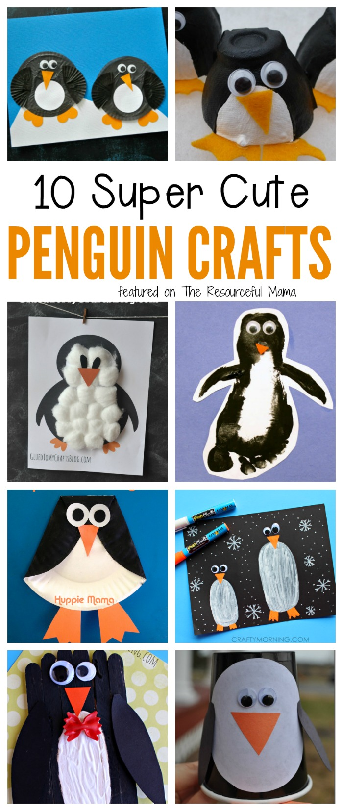 Kids will love making these penguin crafts make from paper rolls, craft sticks, cupcake liners, and more fun craft supplies.