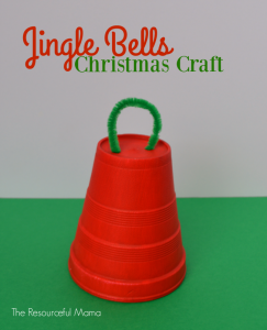 Styrofoam cup Christmas jingle bell craft and ornament for kids using items from the dollar store.