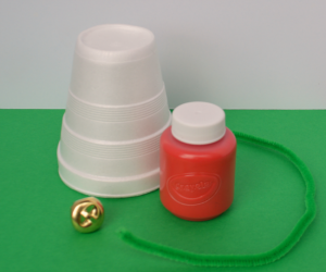 Styrofoam cup jingle bell Christmas craft for kids made with items from the dollar store