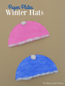 Paper plate winter hats craft for kids