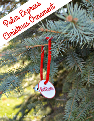 Polar Express book inspired kid made Christmas ornament-free printable believe tag
