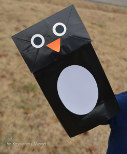Paper bag penguin craft for kids