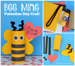 "Toilet paper roll Valentine's Day ""Bee Mine"" craft for kids; great use for recycled toilet paper rolls"
